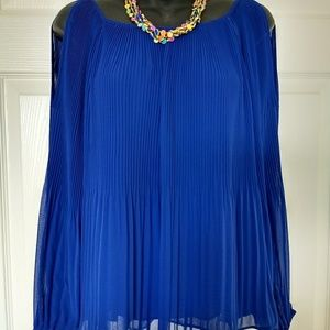 INC Pleated Cold Shoulder Top
